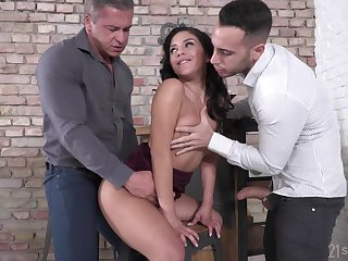 Slutty brunette Liv Revamped fucked and cum covered at the end of one's tether two chunky cocks