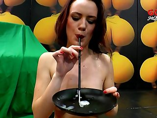 Cute blonde blarney whore eats cum in a gangbang