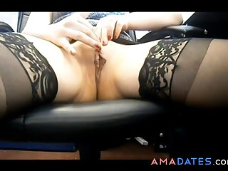 Naughty milf fingering will not hear of pussy readily obtainable make an issue of office