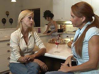 Skinny lesbian mature couple Janet Mason together with Zoey Kush