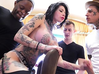 Interracial gangbang gets Megan Inky for everyone sticky with cum