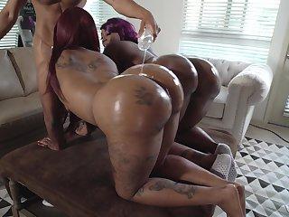 Hardcore triumvirate nearly black babes Diamond Monroe and Victoria Cakes