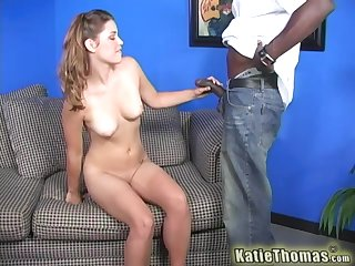 Cute blonde babe Katie Thomas fucked apart from a beamy dark cock
