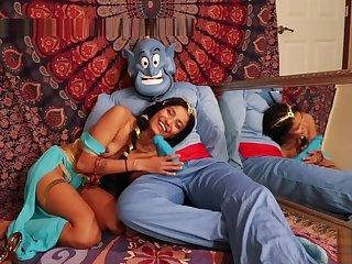 HORNY PRINCESS JASMINE SUCKS GENIE'S BIG BLUE COCK