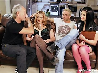 Rebecca Ryder and Harvey Harlequin take cum in a foot fetish foursome