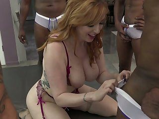 Colourless and black dudes fuck big bottomed and busty drab Lauren Phillips
