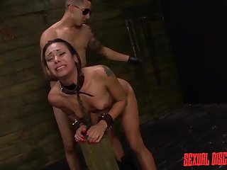 Dom uses his cuffed unfocused in a dungeon aggressively