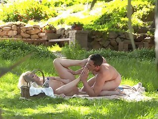 Intense foot fetish dealings via a picnic for A.j. Applegate