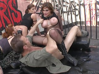 Several beautiful whores in unmentionables have a wild foursome