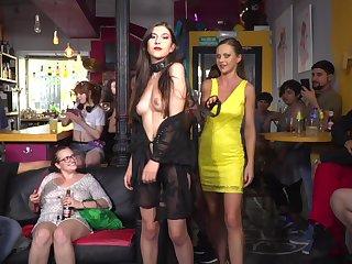 Teens Tina Kay and Anya Krey bound and fucked in a BDSM orgy