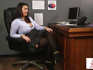 Office sweetie teaches slave fucking partner in all directions masturbate