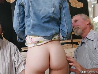 Squarely haired sweetheart is having casual bang-out thither 2 old dude in her living apartment