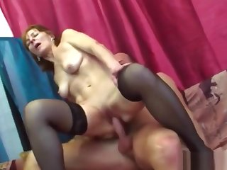 Domineer Brunette Granny Riding Long Shaft On Couch