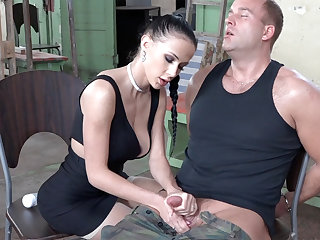 Sexy brunette step with dick of military