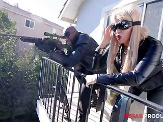 Two Canadian busty whores in latex outfits are fucked by hoggish BBC
