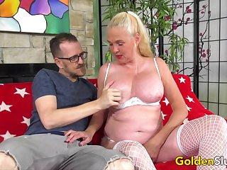 Cock Vitalized Grandma Sara Skippers Sucks increased by Fucks a  Cock