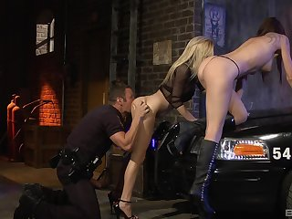 Inked babes in boots Chayse Evans plus Haley Cummings in a threesome