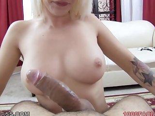 Sexy slut concerning a sleeve tattoo sucks dick eagerly