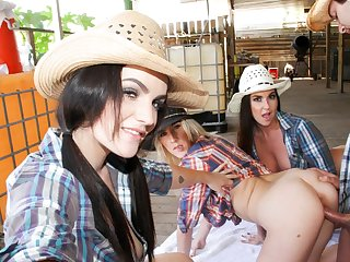 Slutty cowgirls riding prick on the farm