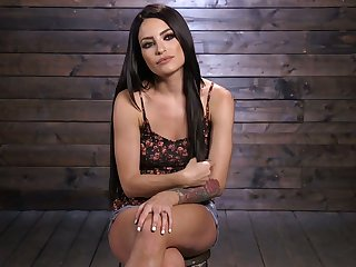 Hogtied protest with natural boobs Kissa Sins deserves some brutal masturbation