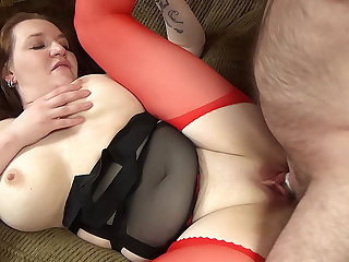 Busty amateur plumper fucked by an older man