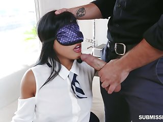 Blindfolded playful hottie Ember Stooge is eager to execrate fucked cleric