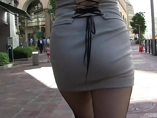 Plainly asian MILF in tight minidress upskirt thong flashing in the ambitiousness !