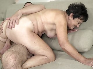 Grandma gets fucked in her old pussy by a young dick