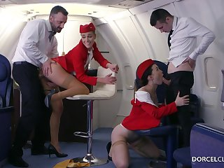 Alexis Crystal and Misha Cross are VIP stewardesses who were hired near do everything near please dudes