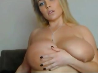 Chubby girl having it away herself with dildo live on webcam