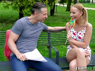 Pigtailed teen with braces Poppy Respect is having quickie with one unfamiliar suppliant