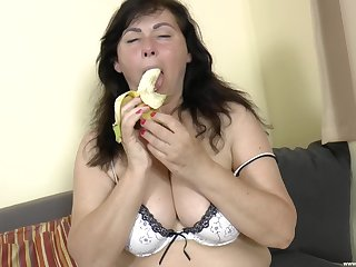 beamy mature Trisha B. gets fucked by her neighbor on an obstacle couch