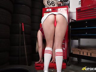 Cruel whore Anna Belle pulls her in flames ropes down and flashes her bum