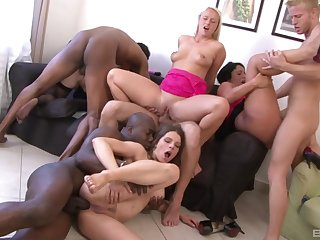 Horny sluts are having a wild time interchanging get under one's dicks