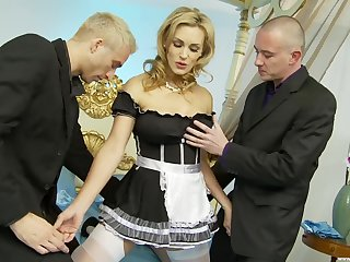sexy lady's maid Tanya Tate gets her cunt pounded wits her boss with an increment of one more dude