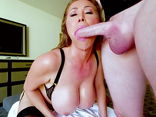 Kianna Dior is aloft her knees blowing plus waiting for strong facial