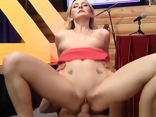 Blonde babe squirts over interview panel