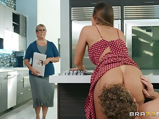 Big ass wife fucked everlasting in the kitchen and made about swallow