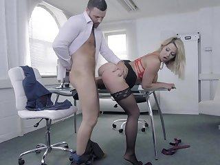 Noxious secretary slut bent over and fucked hard