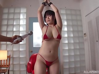Futaba Hashizuku gets say no to pussy pleased with a vibrator and fingers