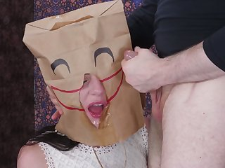 Kinky pervert with reference to mask fucks brashness of spoiled chick with bag on head