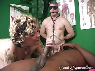 Cheat out of massage scalding therapist enjoys Candy Monroe's pussy
