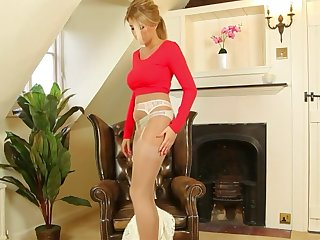 sexy blonde in pantyhose showing her panties