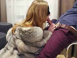 PART 1: Jesting and blowjob in fox fur coat and lingerie. Ultimate erotic