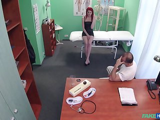 Redhead Anne Swix gets fucked by hard doctor's penis while she moans