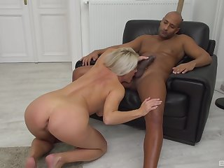 Black dude in huge dick, fast coitus in a fixed devoted to chick