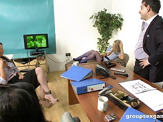 Boss fucks all three be beneficial to his secretaries including Stacey Lacey