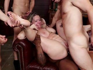Big pack bang orgy with anal penetration and BDSM bondage