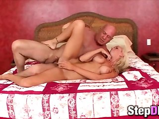 Big-titted blonde babe fucked by a grandpa