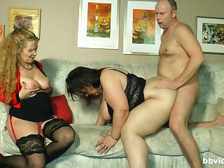 Three lucky guy having threesome sex with two big white women